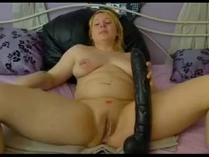 Lonely Chubby Lady Penetrates Her Pussy With A Massive Dildo On Cam