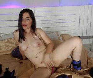 Cute Lesbian Cam Girl Abby Masturbates On Live Cam