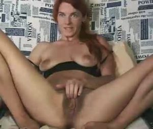 Redhead Eastern European Girl Lise Rubs Her Hairy Cunt On Webcam