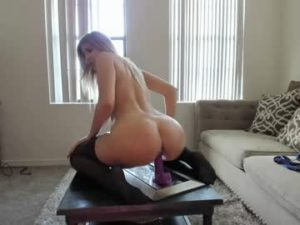 Big Ass Blonde Slut Brittany Rides The Dildo On The Table