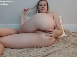 Curvaceous Blonde Girl Stella Fingers Her Asshole Sensually