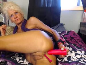 Lewd Blonde Granny Diana Does A Live Anal Solo Show