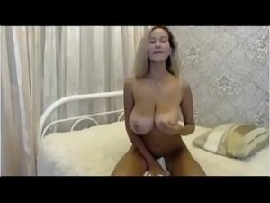 Slim Blonde Milf Flashes And Fondles Her Huge Tits