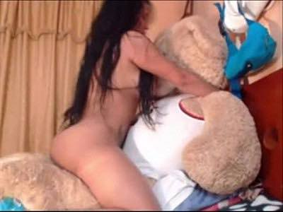 Busty Latina Milf Riding Teddy Bear