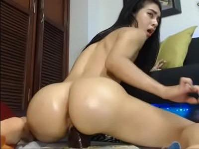 Cute Latina Riding Fake Cock And Squirting