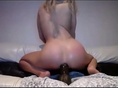 Innocent Blonde Schoolgirl Fucking Her Ass With Extreme Dildo