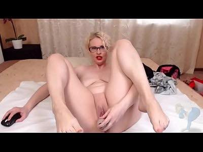 Blonde Milf Stuffs Her Coochie With Sex Toy