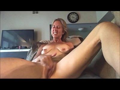 Mature Blonde Stroking Her Pussy Intensively